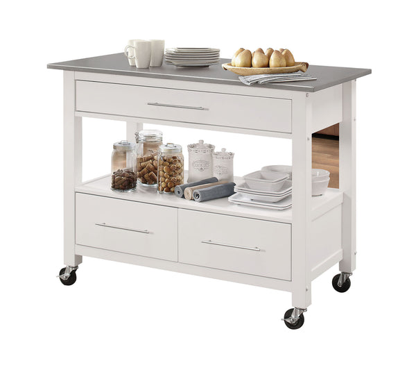Kitchen Island in Stainless Steel and White - Stainless Steel, Rubber W Stainless Steel and White