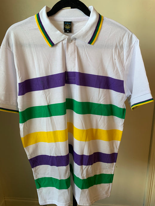 White Mardi Gras Polo