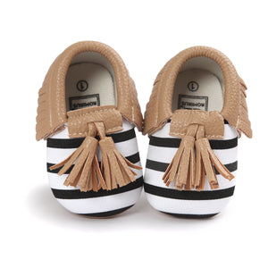 Soft Leather Tassel Baby Moccasins