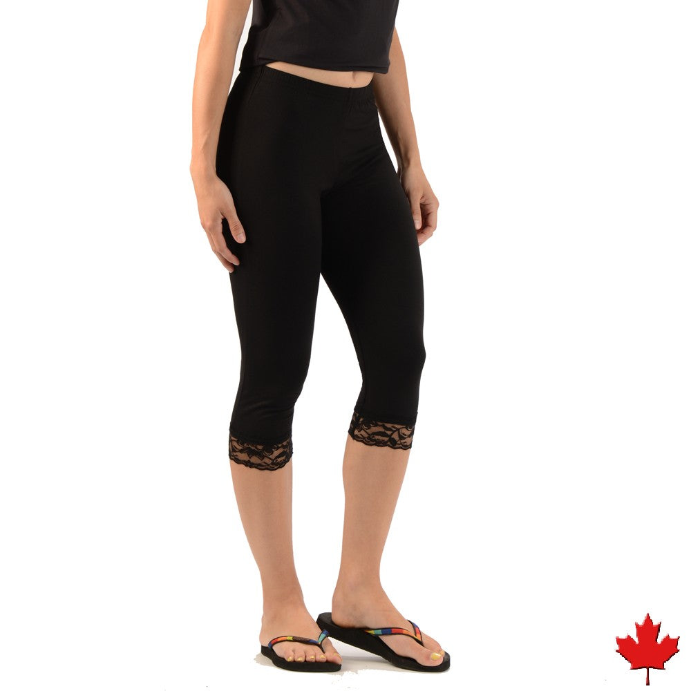 Women's Bamboo 3/4 Lace Leggings