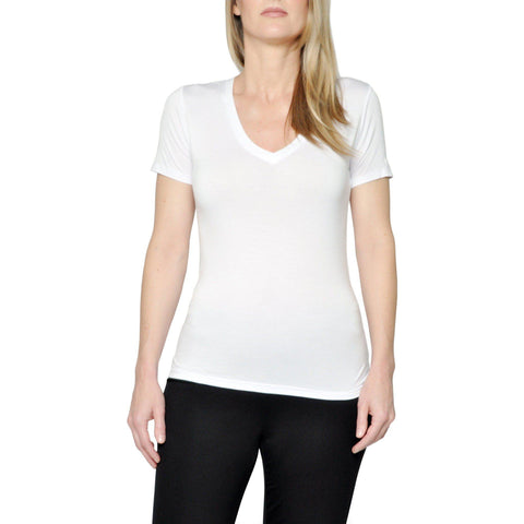 "Women's Bamboo ""Kennedy"" V-Neck- in Snow"