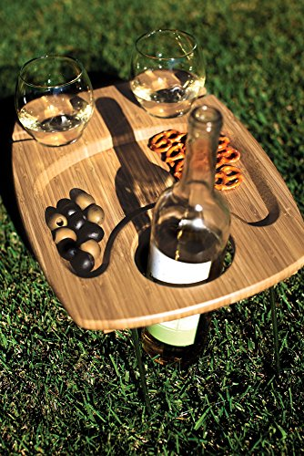 Mesavino Portable Bamboo Wine and Snack Table
