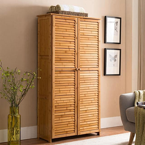 Natural Bamboo Storage Cabinet - Contempo Series - ShopEvoMine Hemp and Bamboo