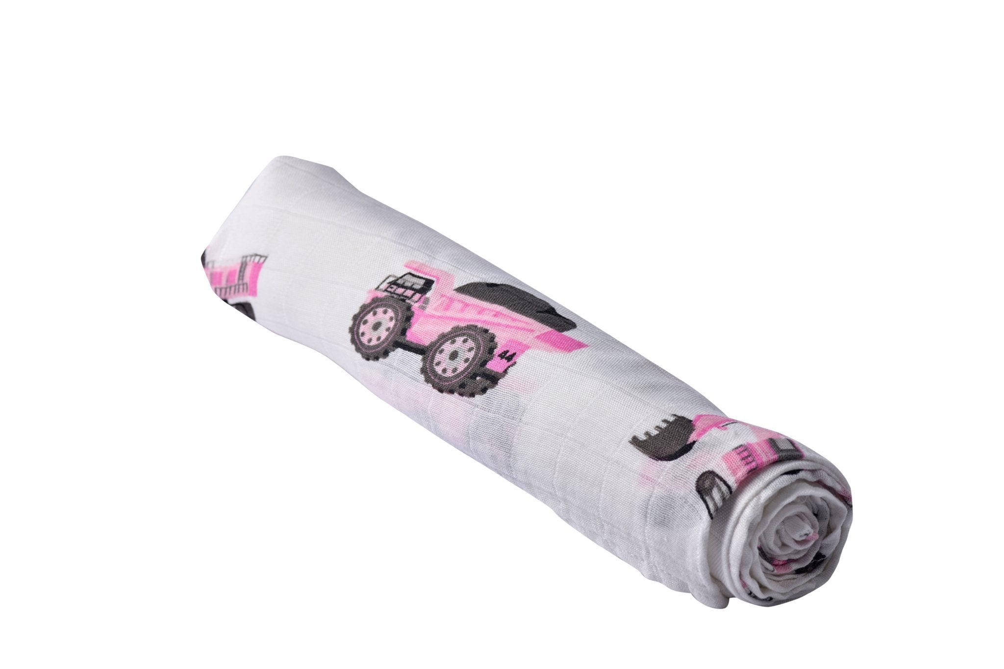 Digger Natural Bamboo Swaddle Pink