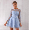 Alvona Lace O Neck Mini Dress