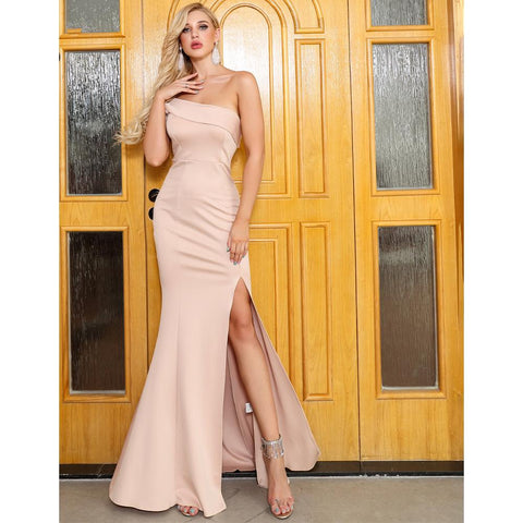 Image of Rosita Beige High Split Dress