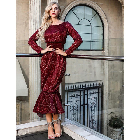 Image of Carisa Long Sleeve Sequin Mermaid Dress