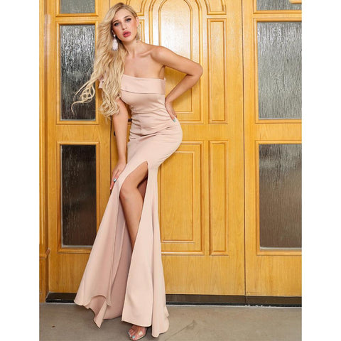 Rosita Beige High Split Dress