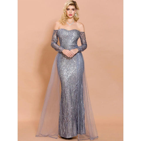 Amidala Off Shoulder Sequin Gown