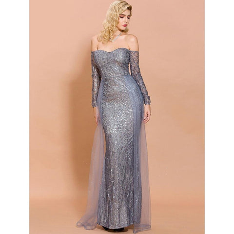 Image of Amidala Off Shoulder Sequin Gown