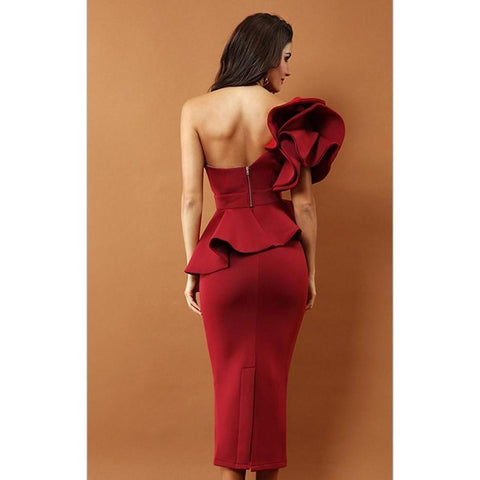 Image of Arianna One Shoulder Ruffles Dress