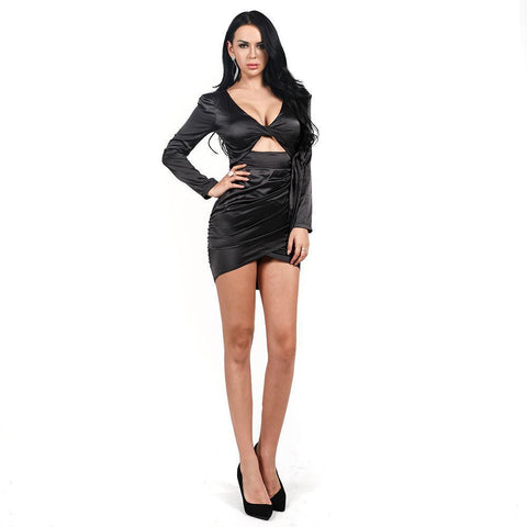 Image of Aria Satin Cut Out Bodycon Dress | Black