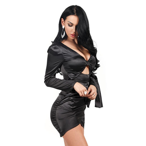 Aria Satin Cut Out Bodycon Dress | Black