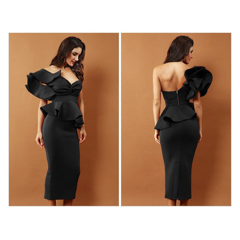 Arianna One Shoulder Ruffles Dress