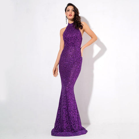 Image of Audrey Glitter Open Back Gown | Purple, Formal Dress - Viva Devine