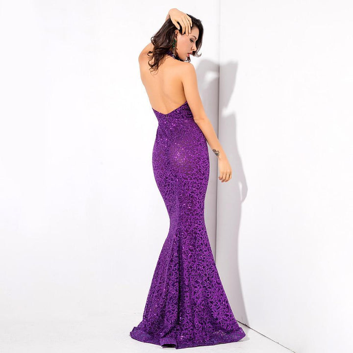 Audrey Glitter Open Back Gown | Purple