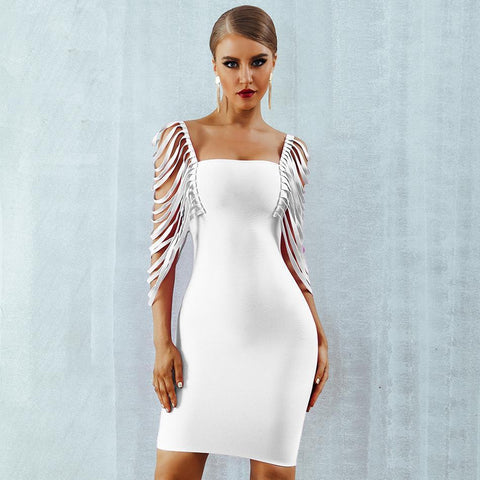 Image of Aviana Fringe Dress, Bandage Dress - Viva Devine
