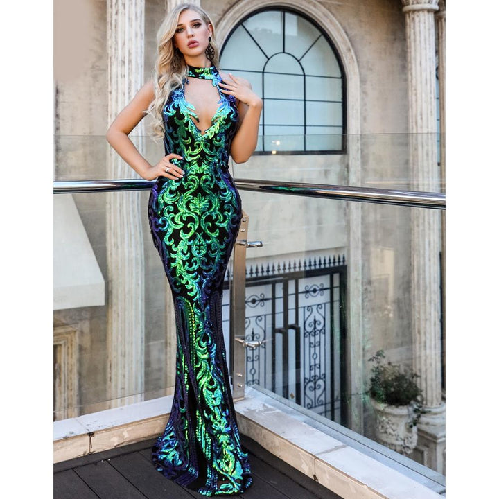 Carisa Sequin Green Formal Dress