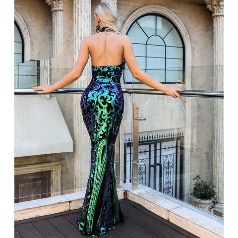 Image of Carisa Sequin Green Formal Dress