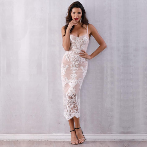Image of Trinity Lace Midi Dress, Bandage Dress - Viva Devine