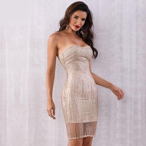 Cecilia Sequin Strapless Party Dress