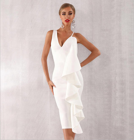 Image of Celia Ruffles Bodycon Midi Dress