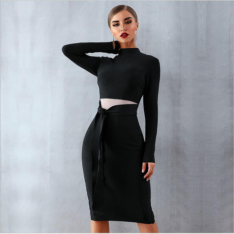 Image of Marianna Black Long Sleeve Bandage Dress