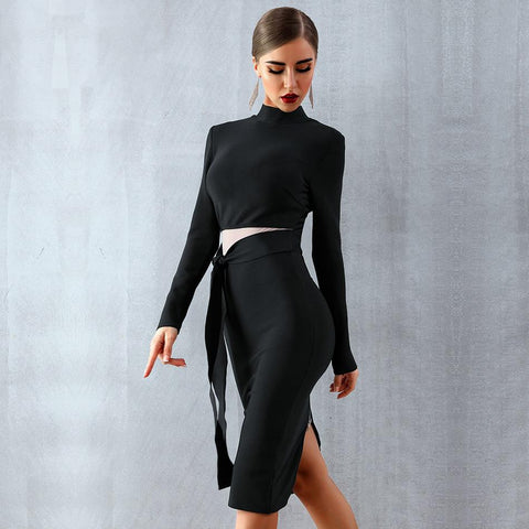 Marianna Black Long Sleeve Bandage Dress