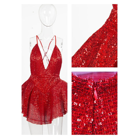 Danni Sequin V- Neck Backless Playsuit