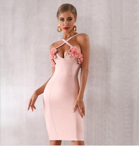 Dianna V-Neck Floral Bandage Dress