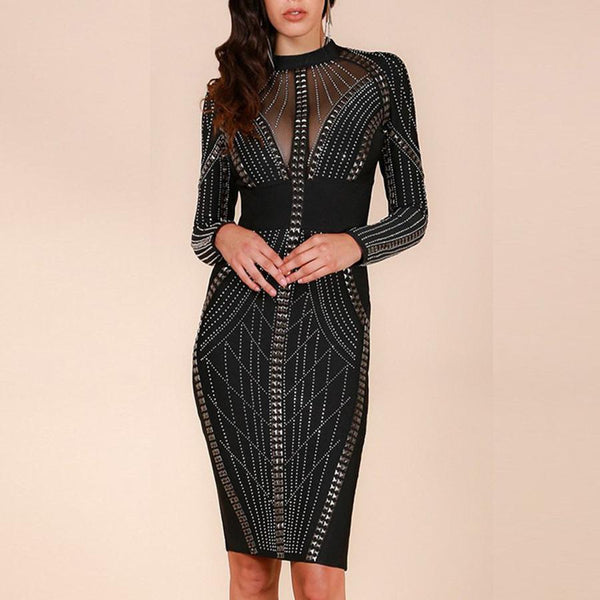 Ella Studded Dress | Black, Bandage Dress - Viva Devine