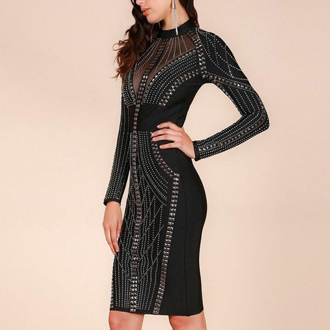 Image of Ella Studded Dress | Black, Bandage Dress - Viva Devine