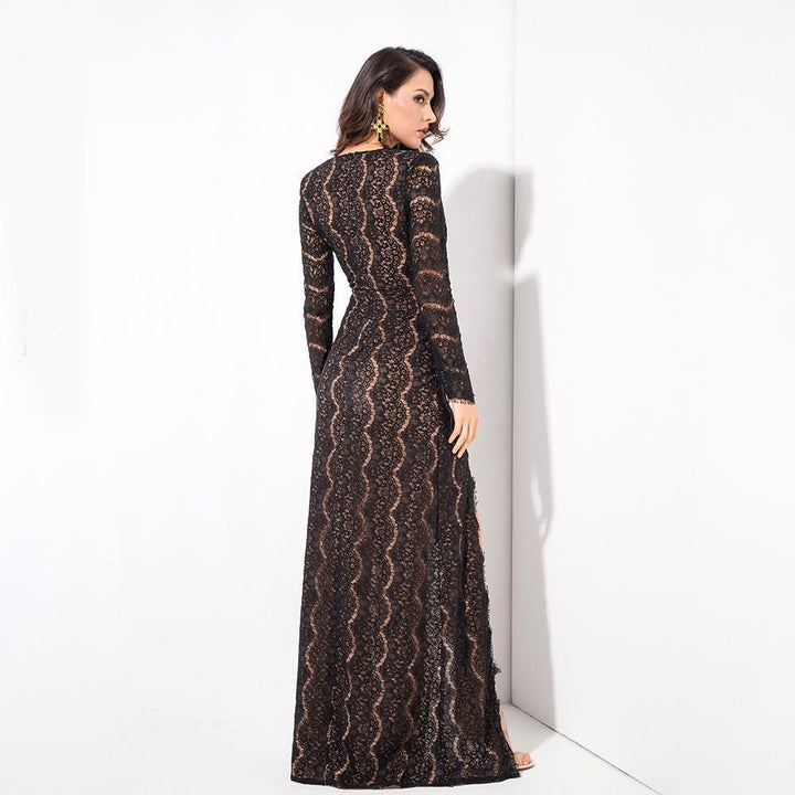Tina Lace High Slits Gown | Black