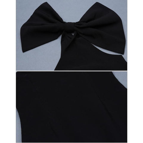 Image of Feline One Shoulder Bow Dress