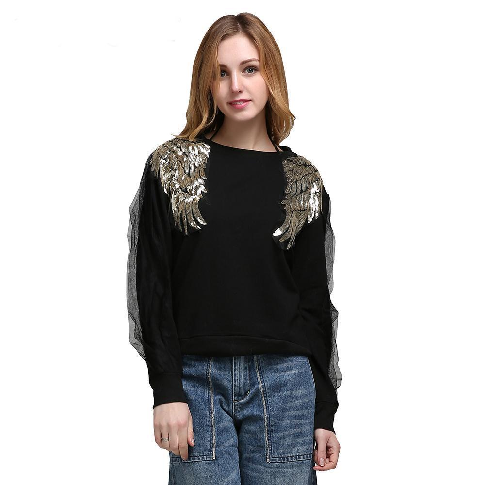 Find Your Wings Sweater Black, Sweater - Viva Devine