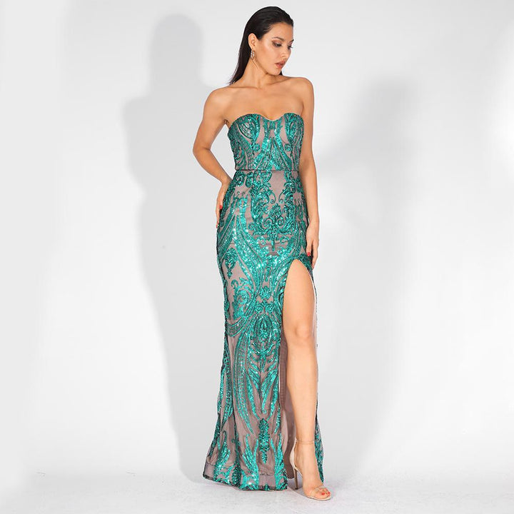 Florencia Sequins Side Slit Gown | Green