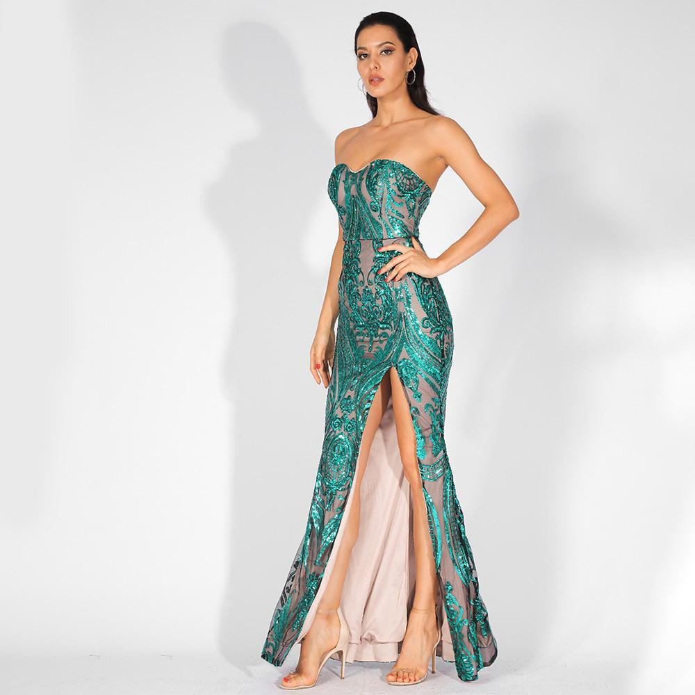 Florencia Sequins Side Slit Gown | Green, Formal Dress - Viva Devine