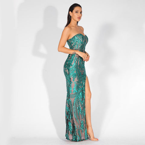 Image of Florencia Sequins Side Slit Gown | Green, Formal Dress - Viva Devine