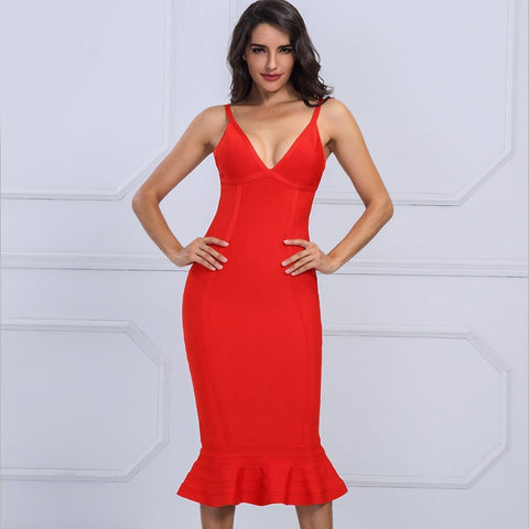 Glenda Dress | Red, Bandage Dress - Viva Devine