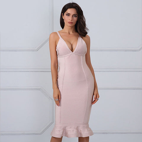 Glenda Dress| Beige, Bandage Dress - Viva Devine