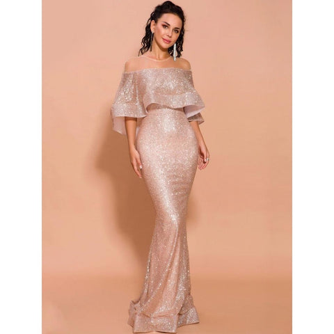 Image of Halina Round Neck Mesh Glitter Gown