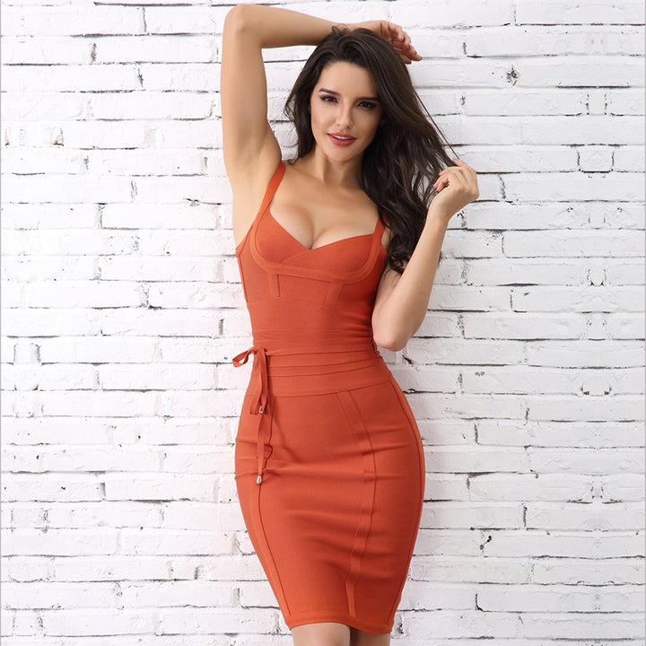 Harriet Dress| Orange, Bandage Dress - Viva Devine