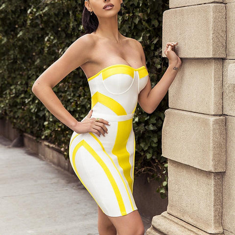 Heather Strapless Mini Dress, Bandage Dress - Viva Devine