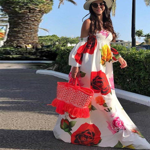 Image of Yvonne Flower Print Maxi White, Maxi Dress - Viva Devine