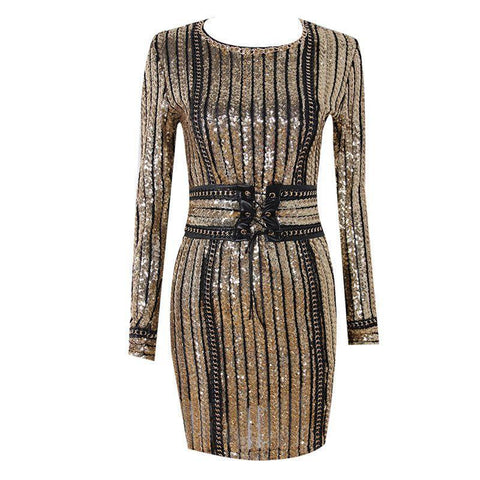 Alexa Sequin Dress, Bandage Dress - Viva Devine