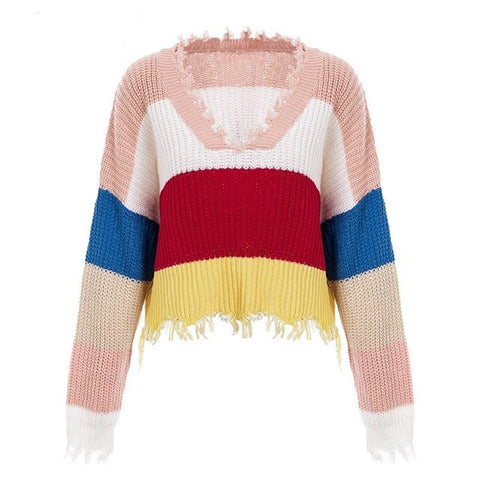 Jasmine Rainbow Tassels Sweater, Top - Viva Devine