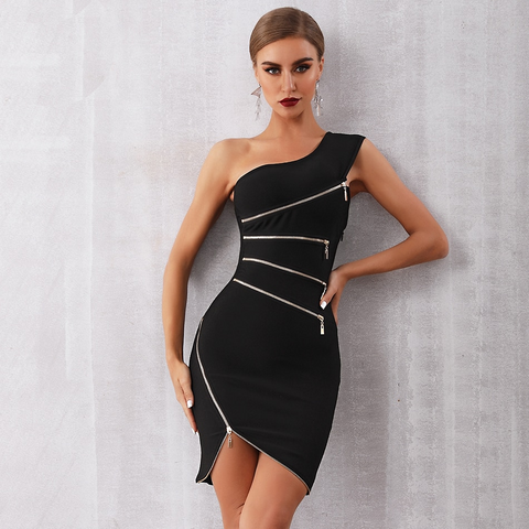 Image of Laurica One Shoulder Zipper Dress