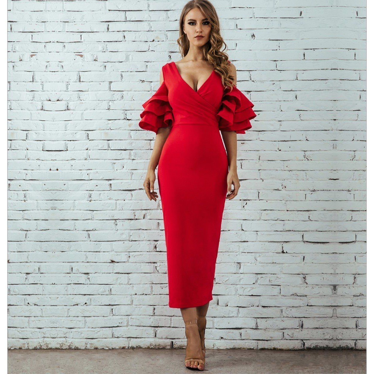 Lavinia Ruffles Formal Dress, Midi Dress - Viva Devine