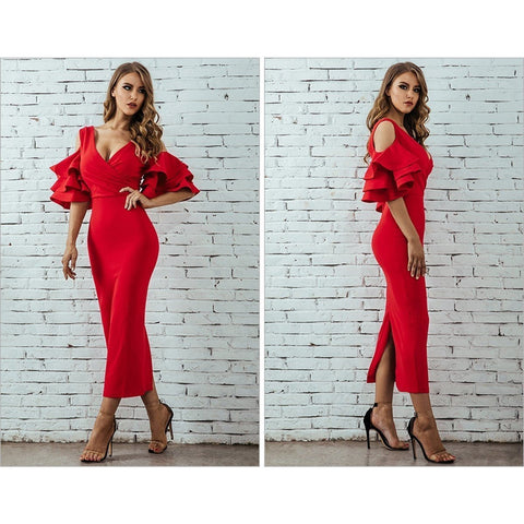 Image of Lavinia Ruffles Formal Dress, Midi Dress - Viva Devine