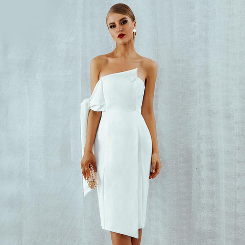 Louise One Shoulder Tied Button Dress